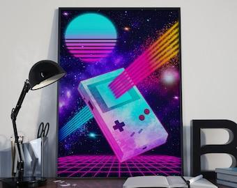 Nintendo, Gameboy, Video Game Art, Gaming Poster, Video Game Decor, Synthwave, Vaporwave, Cyberpunk, Mario, Super Mario, Mario Bros