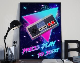 Nintendo, NES, Video Game Art, Gaming Poster, Video Game Decor, Synthwave, Vaporwave, Cyberpunk, Mario, Mario Bros, Wall Art, Retro