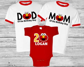 Personalized Elmo Monster Birthday Shirt Family Set 1st 2nd 3rd Raglan Baseball Or Regular T Shirts Available