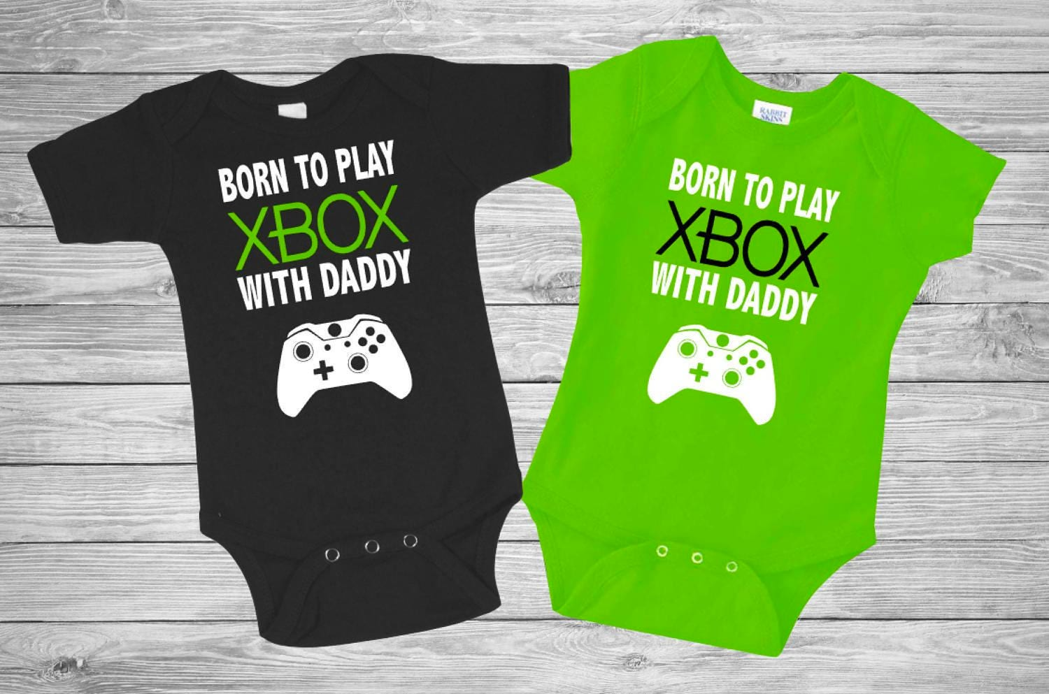 Baby Black and Lime Green onesie XBOX funny New | Etsy