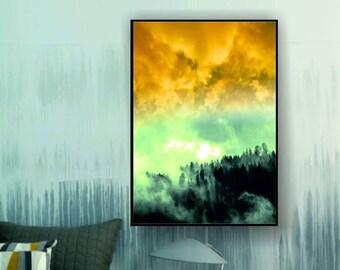 Foggy Forest Digital Print, Foggy Woodland Art, Foggy Forest Art Print , Misty Forest Art, Forest in Fog, Mustard Yellow Art Print,