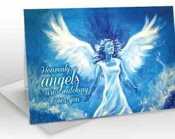 Heavenly Blue Angel -  A5 Greetings card