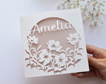 Personalised Floral Papercut Name Card, Wedding / Anniversary Gift, Birthday Card For Her, Thank You Card