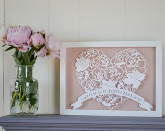 personalised floral rose heart framed papercut wedding engagement first paper anniversary wedding art handmade paper cut cut out