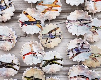 Airplane Paper Garland Baby Boy Time Flies Birthday Party Pilot Plane Decorations Shower Guirlande
