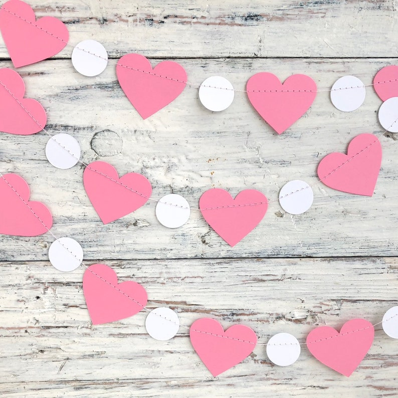 Heart banner Valentines day decorations Heart decor Heart garland Valentines day garland Valentine day gift Pink party garland