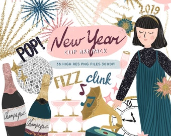 happy new year clip art glitter new year graphics nye party graphic new years eve fireworks clipart new year planner stickers scrapbook