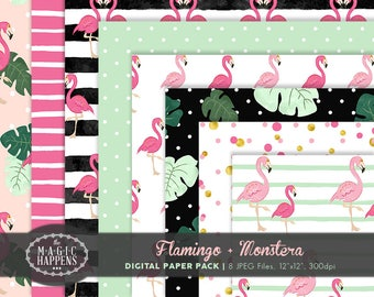 Flamingo Digital Paper, Tropical Pattern, Monstera Leaf Flamingo Summer Tropical Paper for Background, Scrapbook, Invitation, Party, Planner