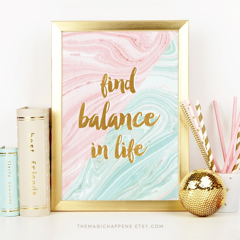 Printable Balance Quote Wall Art Life Quotes Print Pink Mint Etsy