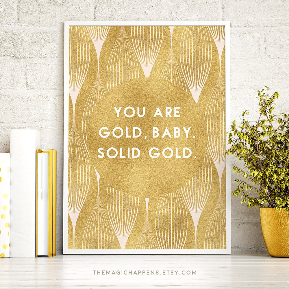 Gold Quote Wall Art Print Gold Wall Art Life Quote Gold Foil | Etsy