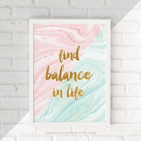 Printable Balance Quote Wall Art Life Quotes Print Pink Mint Etsy Mesmerizing Quotes Wall Art