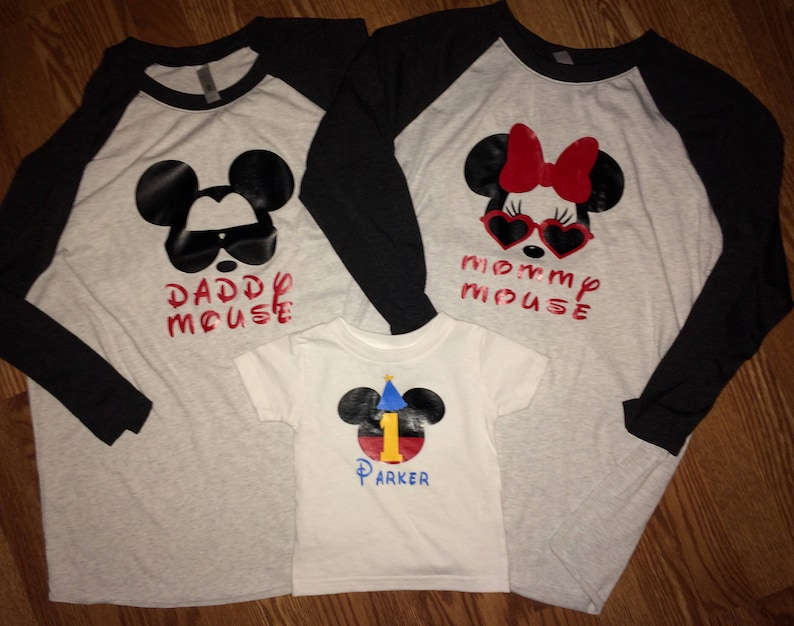First 1st Birthday Family Shirts Parent Mommy Mouse Daddy Raglan Tshirt Disney Shirt