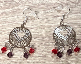 Beaded Jewelry, Beaded Earrings, Valentines Day Jewelry, Heart Jewelry, Romantic Jewelry, Valentine Earrings, Drop Earrings, Unique Earrings
