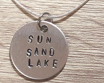 GPS coordinates Personalized engraved jewelry Personalized Lake necklace coordinates necklace custom lake necklace