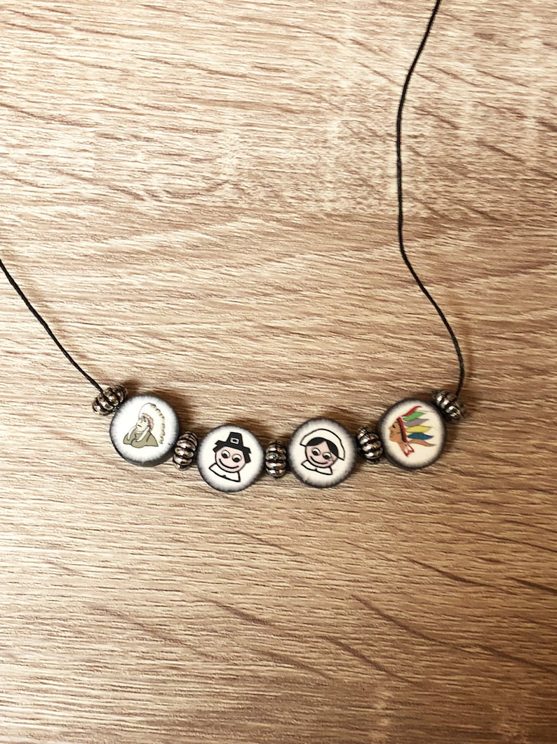 handmade Thanksgiving jewelry Gift for her Unique beaded clay holiday necklace