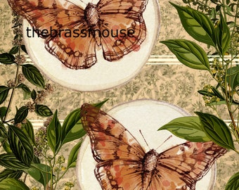 Vintage Butterfly Scrapbook Background INSTANT Digital Download Floral Plants and Insects Nature Design Junk Journal Printable