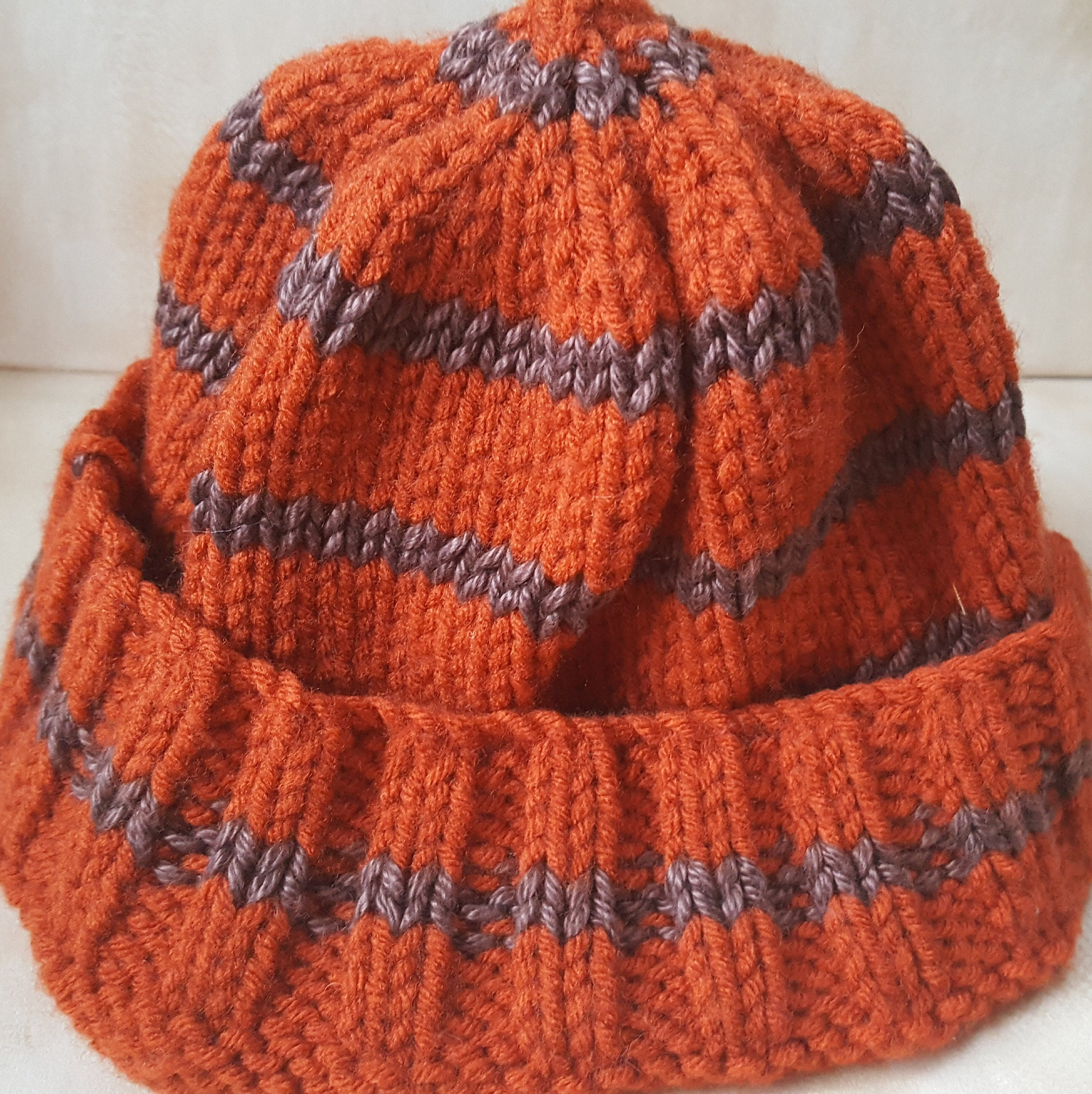 b1e604ba959 Teenagers Beanie. Adult hat. Hand knitted hat. Two tone