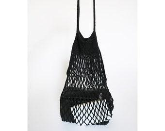 Black Crochet Net Market Bag