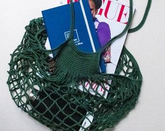 Forest Green Crochet Net Market Bag