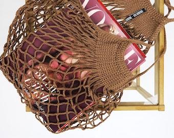 Brown Sugar Crochet Net Market Bag