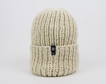 Cream Beige Oversized Beanie Hat
