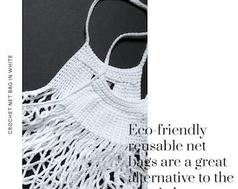 Crochet Net Market Bag - white