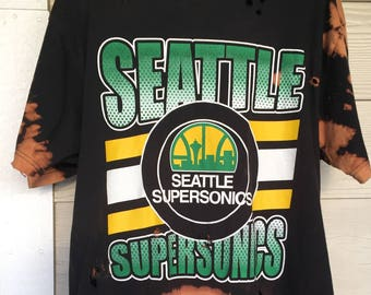 7923543d6a5 Custom    Hand Bleached    Mitchell and Ness    Throwback Seattle  Supersonics T-Shirt