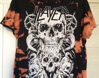 Custom // Hand Made // Hand Bleached // Slayer Band T-Shirt
