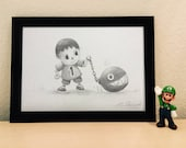 "Print ""The Villager walks his Chomp"" (animal crossing / super mario)"