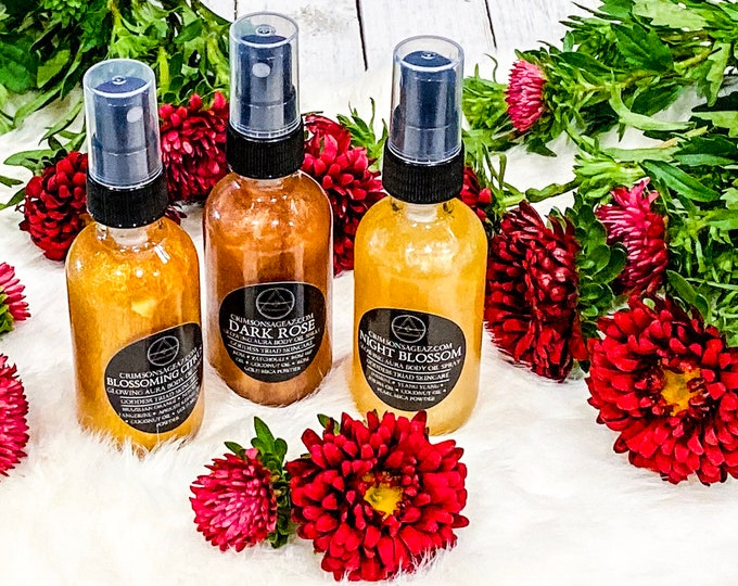 Featured listing image: Glowing Body Oil Sprays - Blossoming Citrus, Night Blossom, Dark Rose *All Natural*