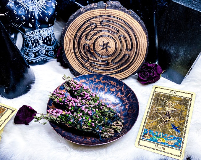 Featured listing image: Hekate's Cauldron Copper Offering/Alchemy Bowl with Hekate's Maze Wood Stand *Hand Forged*