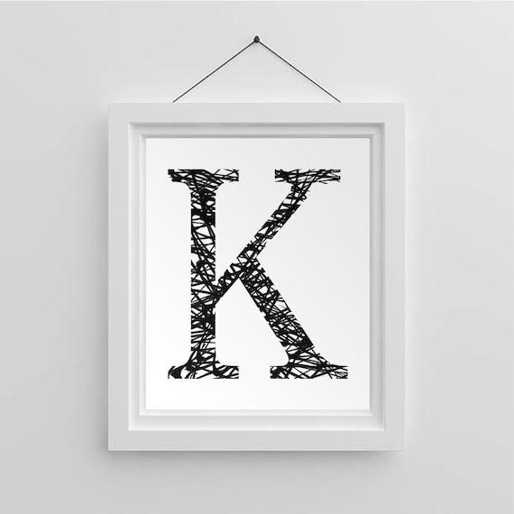 Initial Home Decor: Home Decor Letter K Printable Monogram Art Initial Wall