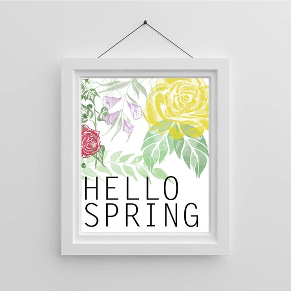Spring Printable - Hello Spring | Floral Wall Art | Floral Home Decor |  Spring Wall Decorations | Instant Download