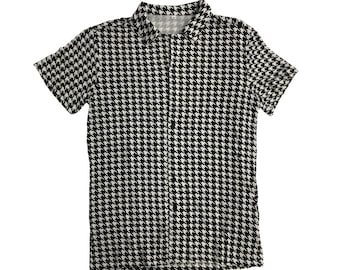 Houndstooth Shirt Ricky Costume Bowling Button Down Up TV Show T-Shirt Park Hounds Tooth Cosplay Trailer Halloween Collar Gift High Quality