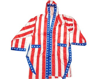 6f9c3ffd2f Rocky Balboa Costume Robe Apollo Creed American Flag IV Movie 70s 80s  Halloween Red White Blue Boxer Boxing Ring Hood USA Stars Stripes Gift