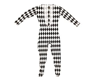 69175322e5c3 Freddie Mercury Costume Harlequin Unitard Black And White Leotard Diamond  Freddy Band Music Concert Movie Spandex Body Suit Outfit Halloween