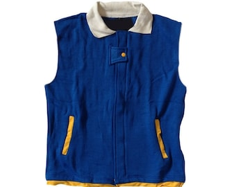 Pokemon Kids Vest Ash Ketchum Costume Cosplay Trainer Sleeveless Coat Anime Blue Original Gift Go Child Boys Youth Halloween High Quality