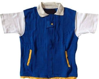 Pokemon Kids Jacket Ash Ketchum Costume Shirt Cosplay Child Boys Youth Trainer Short Sleeves T-shirt Halloween Coat Blue Original Go Gift