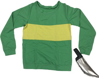 c7b071951 Chara Sweater And Knife Undertale Cosplay Costume Game Gamer Fallen  Halloween Gift Stripes Striped Sweatshirt First Human Green High Quality