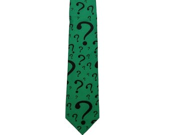 The Riddler Necktie Costume Prop Cosplay Question Mark Tie Neck Tie Batman Villain Accessory Mens Adult Halloween Green Gift ? High Quality