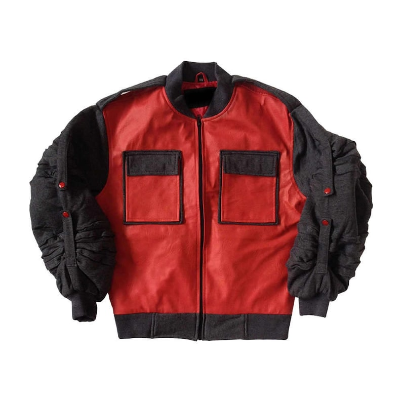b37ca1b03 Back To The Future II Jacket Marty Mcfly Jr. Costume Adjustable Sleeves  Coat Movie 2 Fancy Dress Halloween Cosplay Prop Gift High Quality