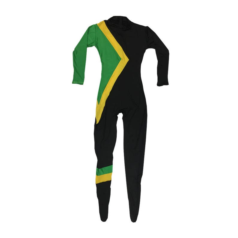 8ca384d8e88 Cool Runnings Costume Jamaican Bobsled Team Uniform Movie Cosplay Spandex  Suit Jamaica Flag Group Bobsleigh Fancy Dress Halloween Hi Quality