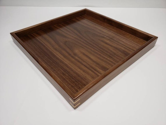 Astonishing 15X15 Walnut Wood Square Ottoman Tray Serving Tray Uwap Interior Chair Design Uwaporg