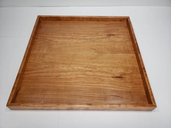 Marvelous 20X20 Cherry Wood Square Ottoman Tray Serving Tray Dailytribune Chair Design For Home Dailytribuneorg