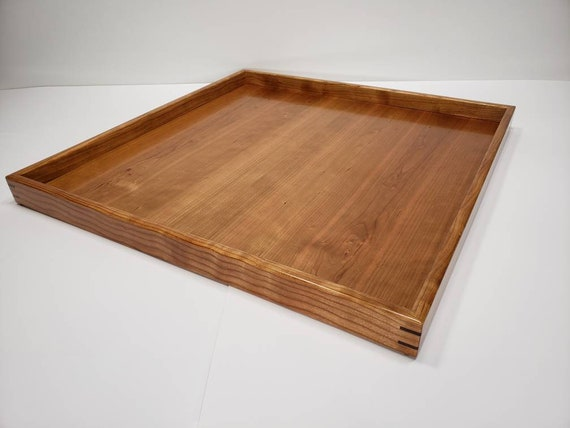 Peachy 20X20 Cherry Wood Square Ottoman Tray Serving Tray Dailytribune Chair Design For Home Dailytribuneorg