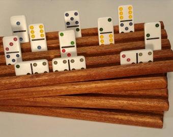 Set of 4 Mahogany Wood Domino trays / holders / racks