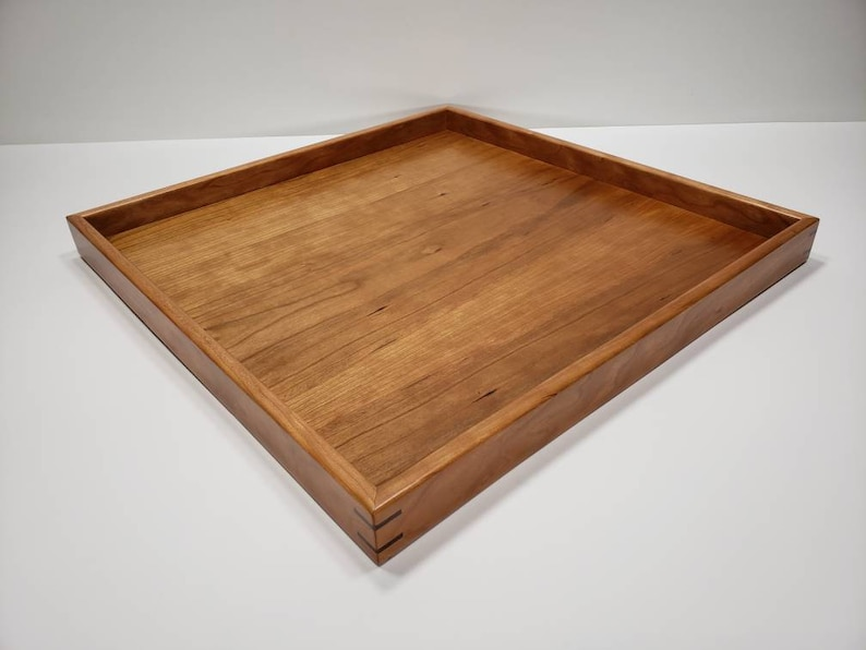 Superb 18X18 Cherry Wood Square Ottoman Tray Serving Tray Satin Finish Caraccident5 Cool Chair Designs And Ideas Caraccident5Info