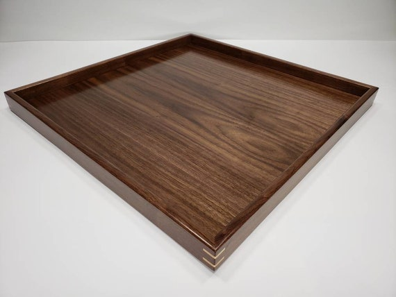 Prime 20X20 Walnut Wood Square Ottoman Tray Serving Tray Dailytribune Chair Design For Home Dailytribuneorg