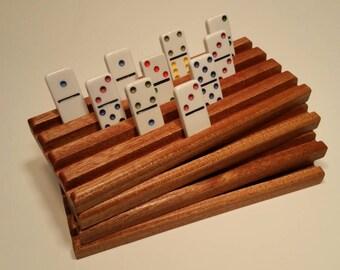 Set of 4 Solid Sapele Wood Domino trays / holders / racks