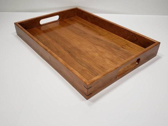 Super 14X20 Cherry Wood Rectangular Ottoman Tray Serving Tray With Handles Evergreenethics Interior Chair Design Evergreenethicsorg